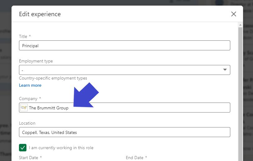 Screenshot of adding company
